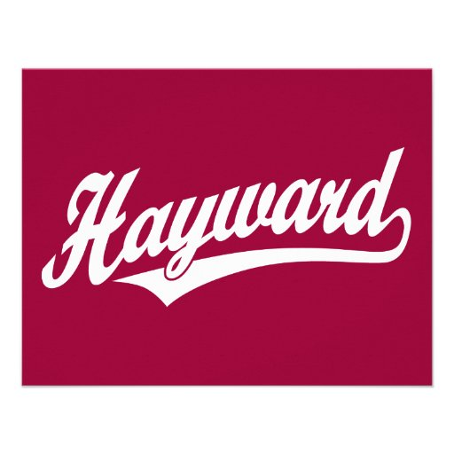 Hayward script logo in white personalized announcements