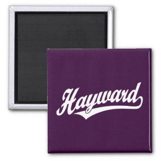 Hayward script logo in white fridge magnets