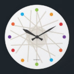 "haywire multi-color mid-century clock<br><div class=""desc"">Inspired by George Nelson&#39;s famous &quot;ball clock&quot; and the kid&#39;s game &quot;Pick-Up Sticks&quot;. Perfect for the lover of mid-century modern design,  this clock will blend seemlessly with any modern decor.</div>"