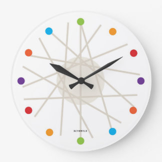 haywire multi-color mid-century clock