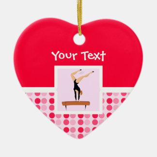 Haz de balanza lindo de la gimnasia adorno de cerámica en forma de corazón