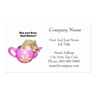 Haz You Seen Mad Hatter Dormouse Hamster Photo Business Card