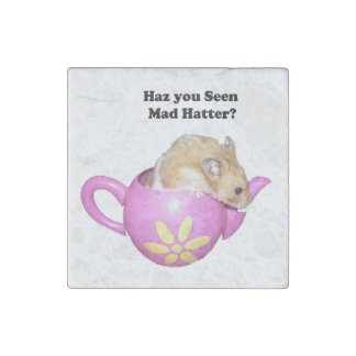 Haz You Seen Mad Hatter Dormouse Hamster Photo Stone Magnet