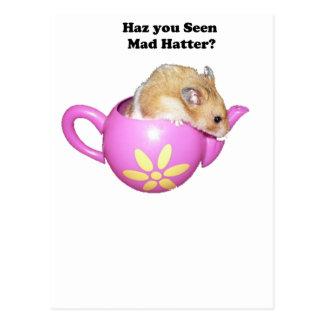 Haz You Seen Mad Hatter Dormouse Hamster Photo Postcard
