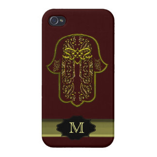 Hazaña de la mano de Hamsa: Corazón (de oro) (mono iPhone 4 Cárcasa