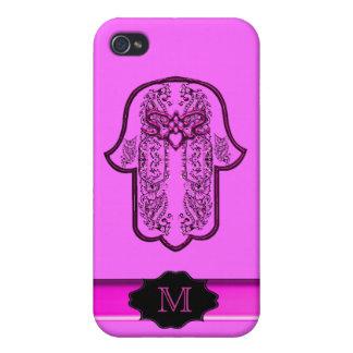 Hazaña de la mano de Hamsa: Corazón (rosa) (monogr iPhone 4 Cárcasas