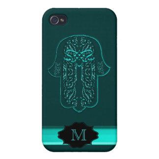 Hazaña de la mano de Hamsa: Corazón (trullo) (mono iPhone 4/4S Carcasas