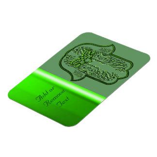 Hazaña de la mano de Hamsa: Corazón (verde) Imanes Rectangulares
