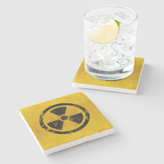 Hazard Radiation Warning Stone Coaster