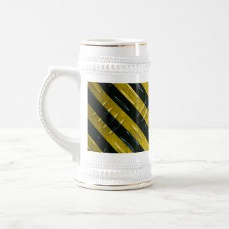 Hazard Stripe Diamond Plate Textured Beer Stein