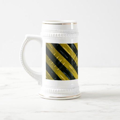 Hazard Stripe Diamond Plate Textured Coffee Mugs