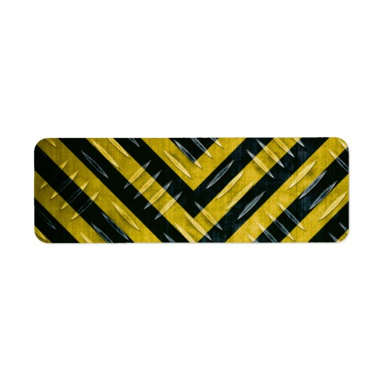 Hazard Stripe Diamond Plate Textured Label