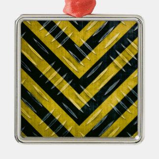 Hazard Stripe Diamond Plate Textured Metal Ornament
