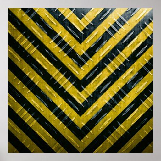 Hazard Stripe Diamond Plate Textured Poster