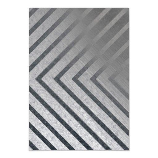 Hazard Stripe Metal 3.5x5 Paper Invitation Card