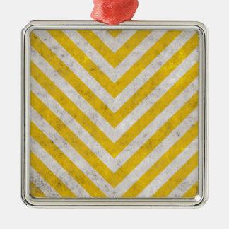 Hazard Striped Metal Ornament