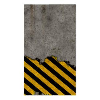 Hazard Striped Stone Texture Business Cards