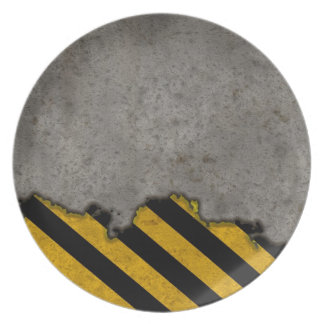 Hazard Striped Stone Texture Party Plate