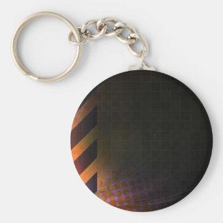 Hazard Stripes Abstract Layout Basic Round Button Keychain