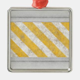 Hazard Stripes Warning Pattern Square Metal Christmas Ornament