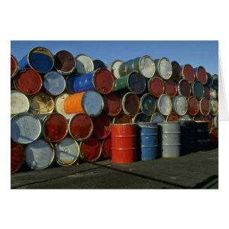 Hazardous waste barrels greeting card