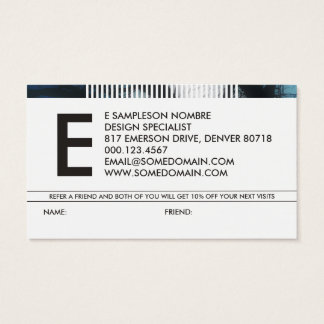 hazed monogram refer a friend business card