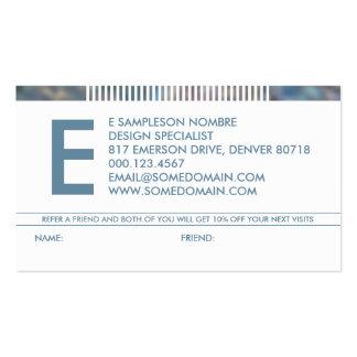 hazed monogram referral business card