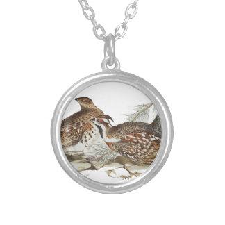 Hazel Grouse Round Pendant Necklace