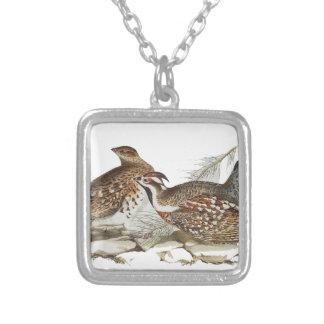 Hazel Grouse Square Pendant Necklace