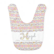 Hazel name and meaning hearts pattern baby bib