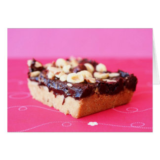 Hazelnut and chocolate caramel bars greeting card