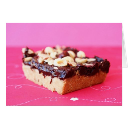 Hazelnut and chocolate caramel bars greeting card | Zazzle