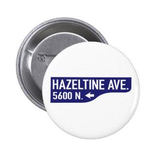 Hazeltine Avenue, Los Angeles, CA Street Sign Pinback Button