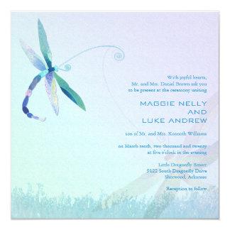 "Hazy Morning Blue Dragonfly Wedding Invitations 5.25"" Square Invitation Card"