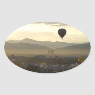 Hazy Morning Hot Air Balloons in Reno Oval Sticker