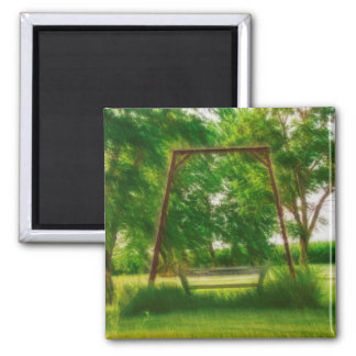 Hazy Old Swing in Backyard with Trees Digital Art 2 Inch Square Magnet