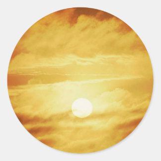 Hazy Yellow Sky Classic Round Sticker