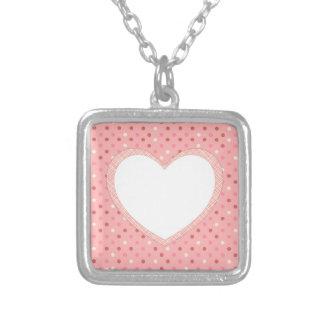 hc1.pngPink Polka Dot Crosshatch Heart Photo Frame Silver Plated Necklace