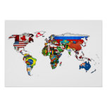 HD World Flags Map Poster
