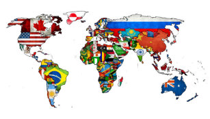 World map posters photo prints zazzle hd world flags map poster gumiabroncs Image collections