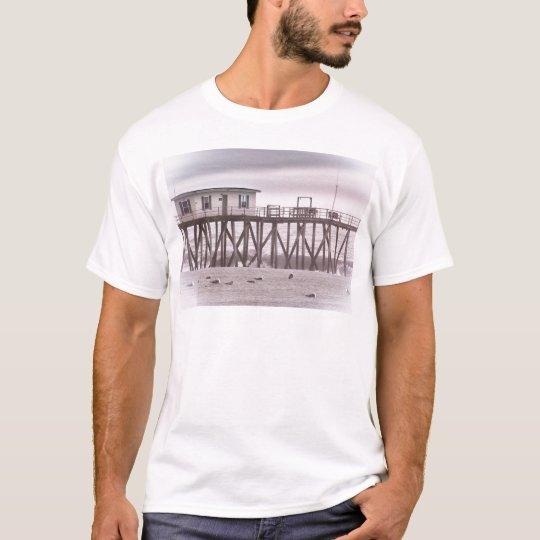 HDR Beach Beaches Ocean Sea Scenic Seagull Waves T-Shirt