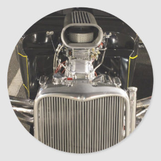 HDR Black Hot Rod Classic Vintage Big Engine Car Classic Round Sticker