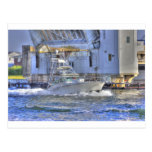 HDR Boat Boats Under Drawbridge Postcard