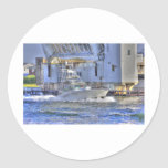 HDR Boat Boats Under Drawbridge Classic Round Sticker