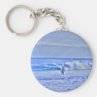 HDR BodyBoard Surfer Checking Out Ocean Waves Keychain