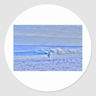 HDR BodyBoard Surfer Checking Out Ocean Waves Sticker