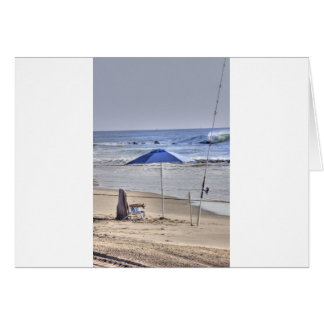 HDR Classic Beach Shot Fisbing Umbrella Sand Waves Card