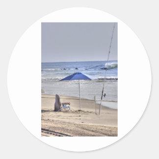 HDR Classic Beach Shot Fisbing Umbrella Sand Waves Classic Round Sticker