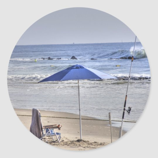 HDR Classic Beach Shot Fisbing Umbrella Sand Waves Classic Round Sticker