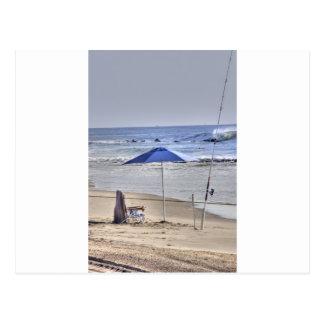 HDR Classic Beach Shot Fisbing Umbrella Sand Waves Postcard